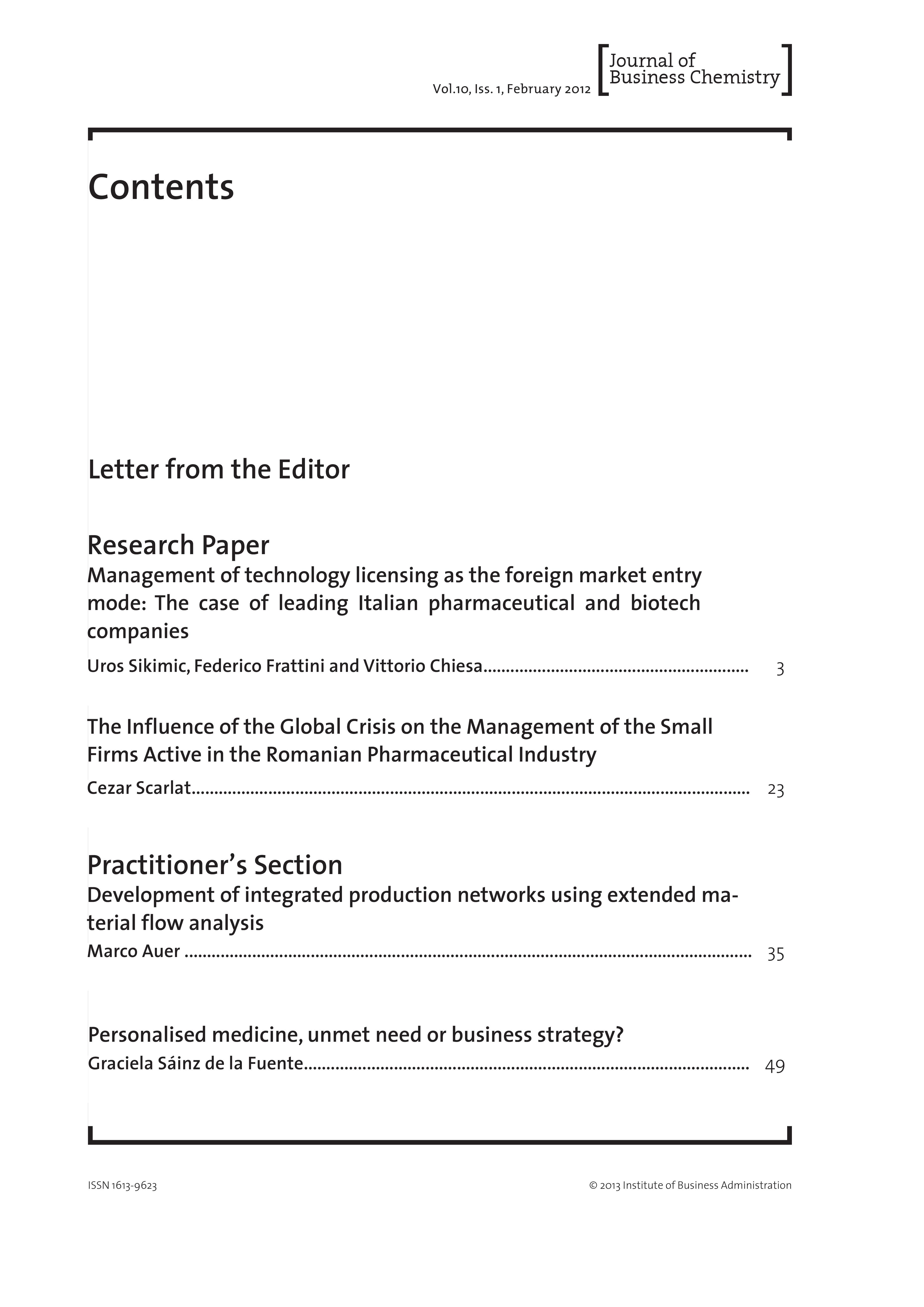 Journal of Business Chemistry February 2013